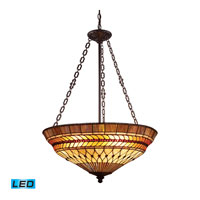 ELK Lighting Glass Leaf 3 Light Pendant in Tiffany Bronze 70088-3-LED