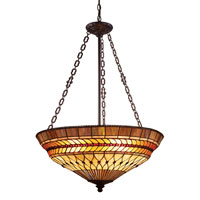 ELK Lighting Glass Leaf 3 Light Pendant in Tiffany Bronze 70088-3