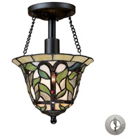 Latham 1 Light 8 inch Tiffany Bronze Semi-Flush Mount Ceiling Light in Recessed Adapter Kit