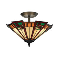 Oak Bridge 3 Light 16 inch Tiffany Bronze Semi-Flush Mount Ceiling Light