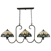 Gameroom 3 Light 51 inch Tiffany Bronze Billiard/Island Ceiling Light