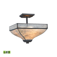 Santa Fe LED 14 inch Tiffany Bronze Semi Flush Mount Ceiling Light
