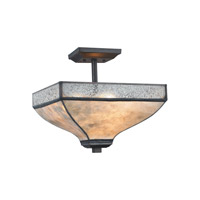 Santa Fe 3 Light 14 inch Tiffany Bronze Semi Flush Mount Ceiling Light in Standard