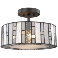 Ethan 2 Light 14 inch Tiffany Bronze Semi Flush Mount Ceiling Light