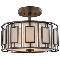 Minden 2 Light 14 inch Tiffany Bronze Semi Flush Mount Ceiling Light