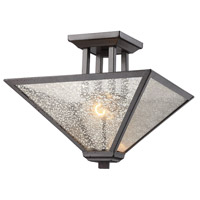 Plano 2 Light 15 inch Iron Rust Semi Flush Mount Ceiling Light