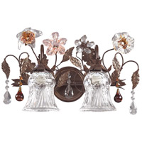 Cristallo Fiore 2 Light 18 inch Deep Rust Vanity Wall Light