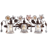 Cristallo Fiore 3 Light 26 inch Deep Rust Vanity Wall Light