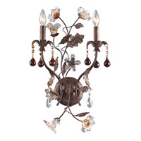 ELK 7043/2 Cristallo Fiore 2 Light 14 inch Deep Rust Sconce Wall Light