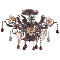ELK 7044/3 Cristallo Fiore 3 Light 19 inch Deep Rust Semi-Flush Mount Ceiling Light