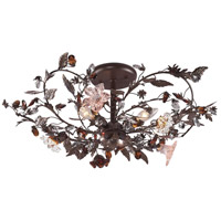 ELK 7046/3 Cristallo Fiore 3 Light 27 inch Deep Rust Semi-Flush Mount Ceiling Light