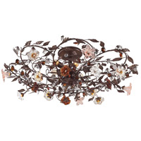 ELK Lighting Cristallo Fiore 6 Light Semi-Flush Mount in Deep Rust 7047/6