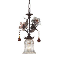 ELK Lighting Cristallo Fiore 1 Light Pendant in Deep Rust 7051/1