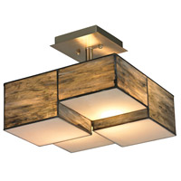 Cubist 2 Light 13 inch Brushed Nickel Semi Flush Mount Ceiling Light in Incandescent