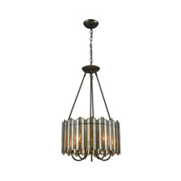 Rubbed Bronze Glass Chandeliers