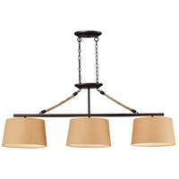 ELK 73046-3 Natural Rope 3 Light 54 inch Aged Bronze Billiard Light Ceiling Light in Incandescent