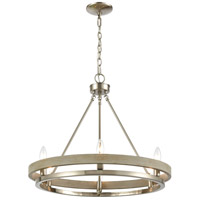 ELK 75066/6 Ramsey 24 inch Satin Nickel/Beechwood Chandelier Ceiling Light