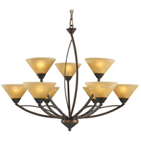 ELK Lighting Elysburg 9 Light Chandelier in Aged Bronze 7648/6+3