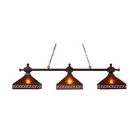 Santa Fe 3 Light 61 inch Mission Bronze Billiard Island Ceiling Light