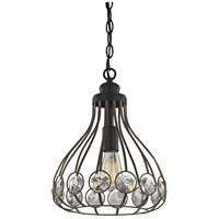 ELK 81105/1-LA Crystal Web 1 Light 11 inch Bronze Gold with Matte Black Mini Pendant Ceiling Light in Recessed Adapter Kit