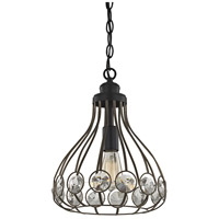 ELK 81105/1 Crystal Web 1 Light 11 inch Bronze Gold with Matte Black Mini Pendant Ceiling Light in Standard