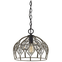 ELK 81106/1-LA Crystal Web 1 Light 11 inch Bronze Gold with Matte Black Mini Pendant Ceiling Light in Recessed Adapter Kit