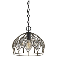 ELK 81106/1 Crystal Web 1 Light 11 inch Bronze Gold with Matte Black Mini Pendant Ceiling Light in Standard