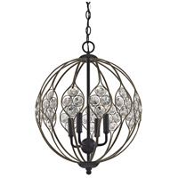 Crystal Web 4 Light 16 inch Bronze Gold and Matte Black Chandelier Ceiling Light