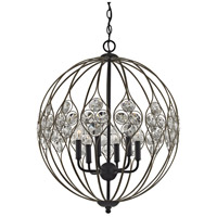 Crystal Web 6 Light 21 inch Bronze Gold and Matte Black Chandelier Ceiling Light