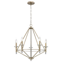 Lacombe 5 Light 24 inch Aged Silver Chandelier Ceiling Light