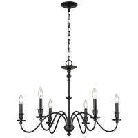 ELK 81274/6 Collins 6 Light 30 inch Matte Black Chandelier Ceiling Light