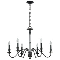 ELK 81274/6 Collins 6 Light 30 inch Matte Black Chandelier Ceiling Light alternative photo thumbnail