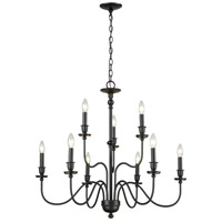 ELK 81275/6+3 Collins 9 Light 32 inch Matte Black Chandelier Ceiling Light