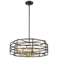 ELK 81316/8 Capistrano 8 Light 24 inch Oil Rubbed Bronze with Satin Brass Pendant Ceiling Light