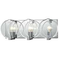 ELK 81341/3 Clasped Glass 3 Light 18 inch Polished Chrome Vanity Light Wall Light
