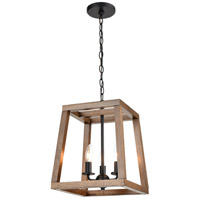 ELK 81415/3 Barrow 12 inch Birchwood/Matte Black Chandelier Ceiling Light