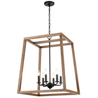 ELK 81416/6 Barrow 22 inch Birchwood/Matte Black Chandelier Ceiling Light