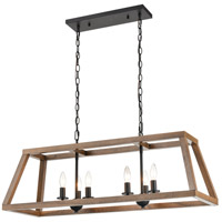 ELK 81417/6 Barrow 36 inch Birchwood/Matte Black Island Light Ceiling Light