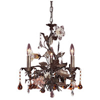 Cristallo Fiore 3 Light 17 inch Deep Rust Chandelier Ceiling Light