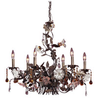 ELK Lighting Cristallo Fiore 6 Light Chandelier in Deep Rust 85002