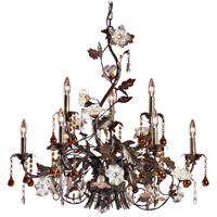 ELK Lighting Cristallo Fiore 9 Light Chandelier in Deep Rust 85003