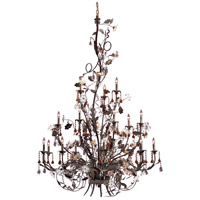 ELK 85004 Cristallo Fiore 18 Light 56 inch Deep Rust Chandelier Ceiling Light