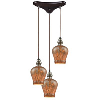 Sojourn 3 Light 10 inch Oil Rubbed Bronze Pendant Ceiling Light, Triangle Pan