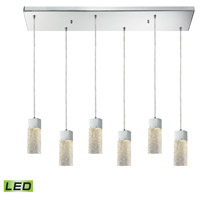 ELK 85107/6RC-LED Cubic Ice LED 30 inch Polished Chrome Mini Pendant Ceiling Light in Rectangular Canopy, 6, Rectangular