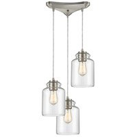 ELK 85213/3 Josie 3 Light 12 inch Satin Nickel Pendant Ceiling Light in Triangular Canopy