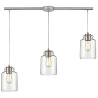 ELK 85213/3L Josie 3 Light 36 inch Satin Nickel Pendant Ceiling Light in Linear with Recessed Adapter