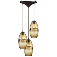 ELK 85251/3 Melvin 3 Light 12 inch Oil Rubbed Bronze Pendant Ceiling Light in Triangular Canopy
