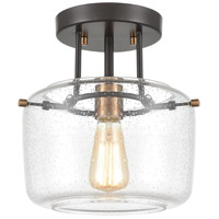 ELK 85261/1 Jake 1 Light 9 inch Oil Rubbed Bronze with Satin Brass Semi Flush Mount Ceiling Light