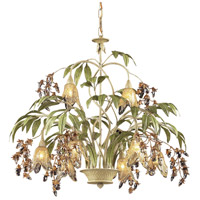 ELK 86054 Huarco 8 Light 28 inch Seashell with Sage Green Chandelier Ceiling Light