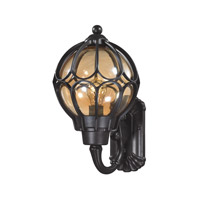 ELK Lighting Madagascar 1 Light Outdoor Sconce in Matte Black with Tea Glass 87021/1